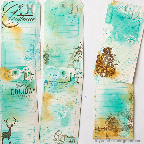 Layers of ink - December Countdown Calendar Tutorial by Anna-Karin Evaldsson. Stamped journaling tags.