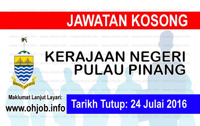 Jawatan Kerja Kosong Pentadbiran Kerajaan Negeri Pulau Pinang logo www.ohjob.info julai 2016