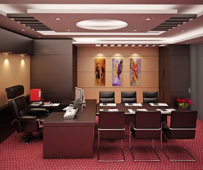 Thiết kế nội thất phòng giám đốc tiện lợi với bàn họp kín