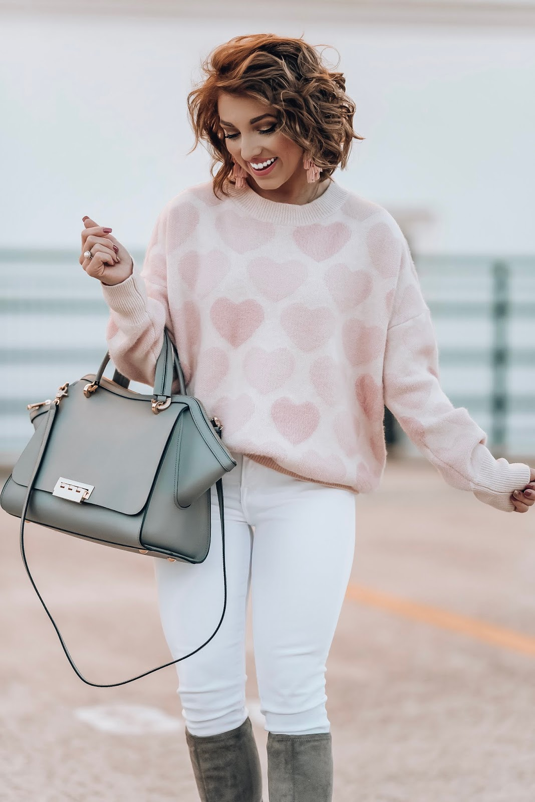 Pink Hearts Sweater for Valentine's Day - Something Delightful Blog