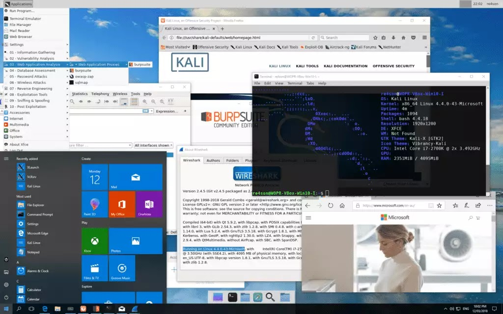 Voodoo-Kali - Kali Linux Desktop on Windows 10