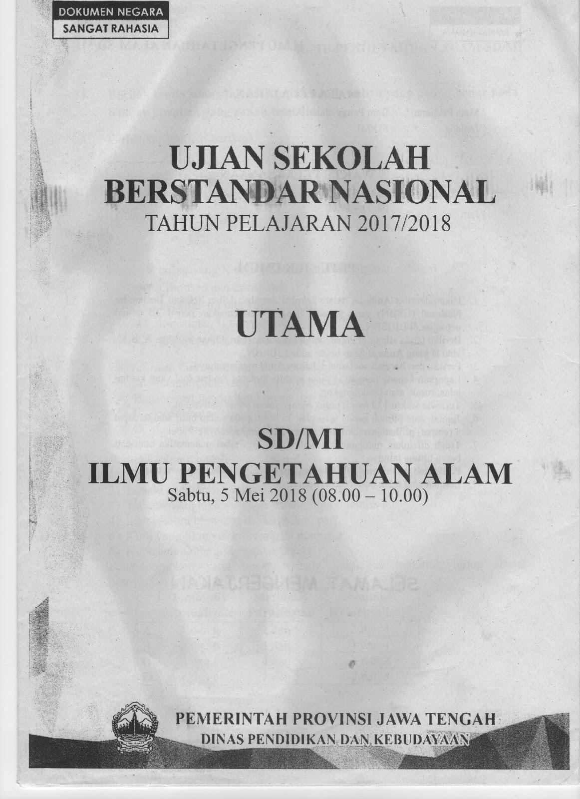 SOAL USBN IPA TAHUN PELAJARAN 2017/2018