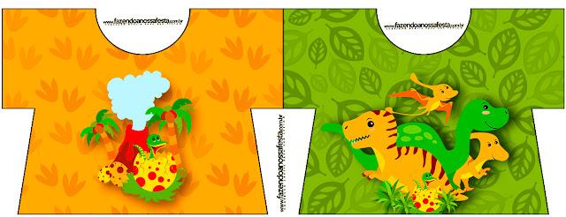 Tarjeta con forma de camisa de Fiesta de Dinosaurios.