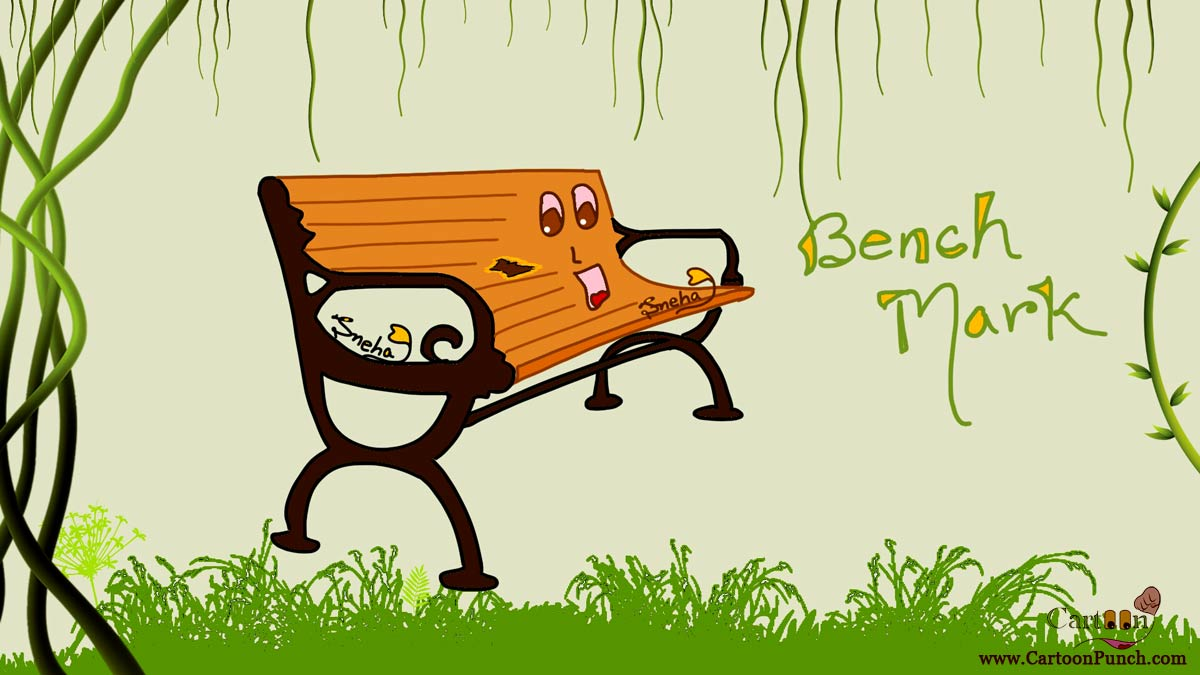 setting benchmark: brown bench mark cartoon by sneha