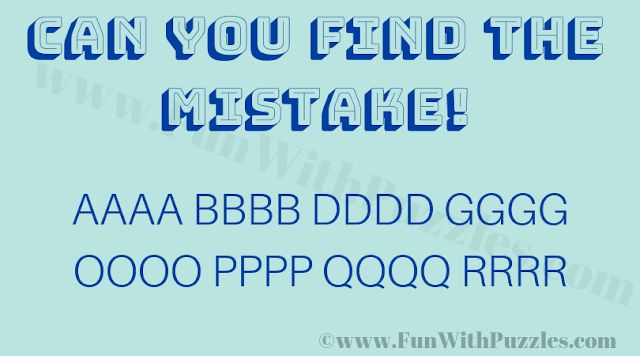 Can you find the mistake! A B D G O O Q R