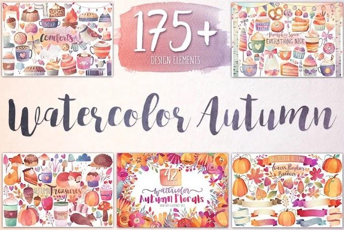 CreativeMarket Watercolor Autumn & Winter Bundle 959235