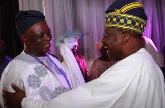 Ajimobi, Ladoja in warm embrace at Olubadan's 90th birthday