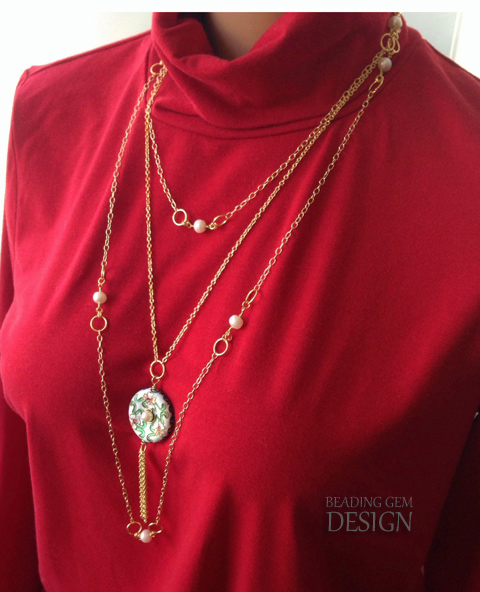gold chain and pearl sautoir necklace