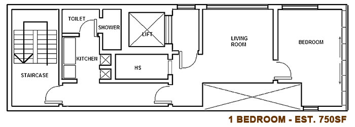 72 Shrewsbury 1 Bedroom Floorplan