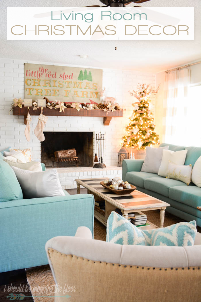 Gold, silver, and cream living room Christmas decor ideas.