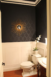 powder bathroom wainscoting gold bathrooms wall walls stencil paint rooms cool half painted bath dark painting accent decorating wainscotting trellis