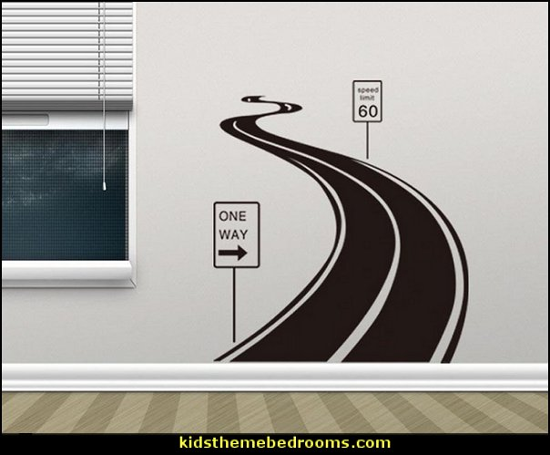 Road Signs wall decal  transportation theme bedroom decorating ideas - Planes, trains, cars and trucks decor - transportation bedroom ideas -  transportation vehicles theme bedrooms - tire throw pillows - cars trucks wall decals - transportation bedding - police cars - polce bedding - heroes bedding