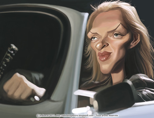 "Caricatura de ""Uma Thurman"" por Jean-Marc Borot"