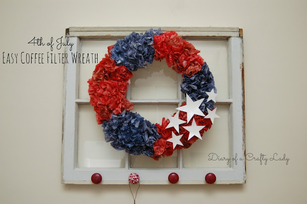 Tattered And Inked Patriotic Wreath With Coffee Filters - Year of