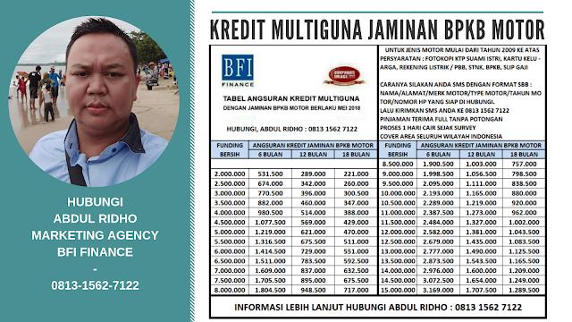 Brosur pinjaman kredit multiguna dengan jaminan bpkb motor mulai dari tahun 2008 ke atas dengan merk honda, yamaha, kawasaki dan suzuki di proses melalui perusahaan pembiayaan kredit bfi finance - 17 Januari 2019