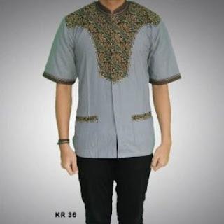 model baju koko kombinasi batik 2018