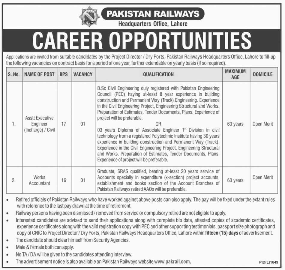 Career in Pakistan Railways