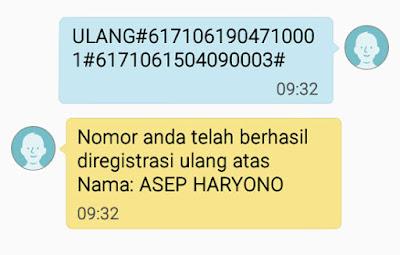 BERHASIL  : Tampilan skrinshot SMS dari 4444 yang menyatakan bahwa nomor pelanggan Prabayar saya berhasil diregistrasi ulang. Gambar dari Internet