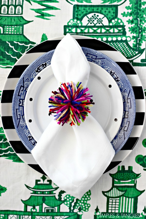 pom pom, tablescape, table setting, place setting, napkin ring, craft, kids craft