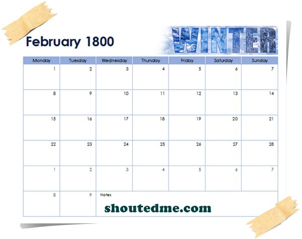 kalender tahun 1800 februari