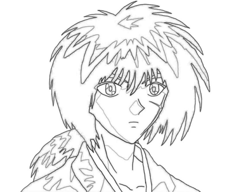 kenshin coloring pages | Rurouni Kenshin Himura Kenshin Face | Mario