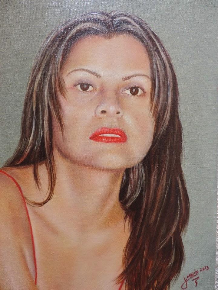 retrato realista oleo sobre lienzo