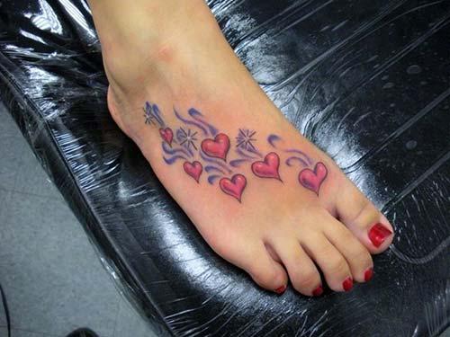 pembe kalpler dövmesi pink hearts tattoo