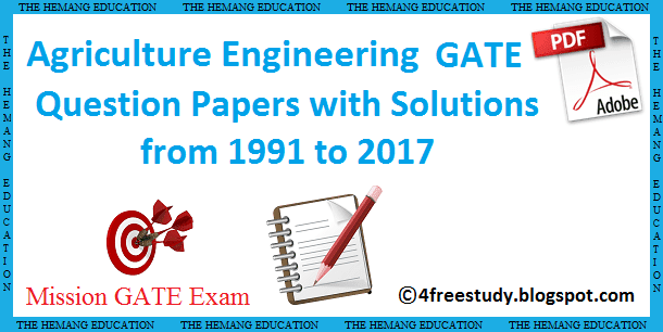 GATE Agriculture Engineering Previous year Paper solution download Free