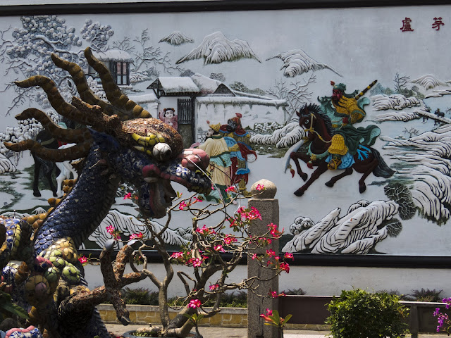 Dragon sculpture at a temple in Hoi An Vietnam