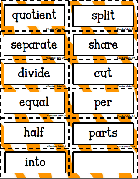 Teacher's Take-Out: Key Words for Word Problems-Freebie