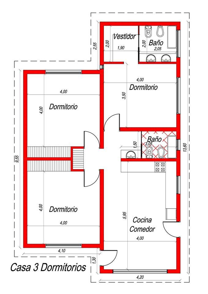 Plano Casa 3 Dormitorios La Banca Hipotecaria