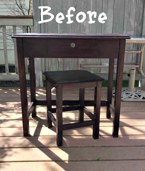Before photo of writing desk and seat