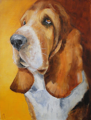oil painting of a basset hound, a pet portrait , dog painting by Karen