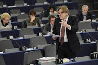 A photo of Guy Verhofstadt Speaking in the EU Parliament
