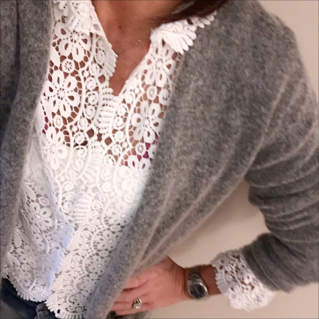My Midlife fashion, hm mohair cardigan, zara lace top, zara vest top, zara distressed boyfriend jeans, hush thornton ankle boots