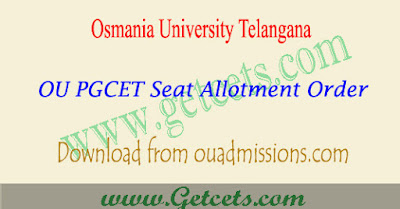 OUCET Seat allotment list 2018 results, ou pgcet seat allotment 2018-2019