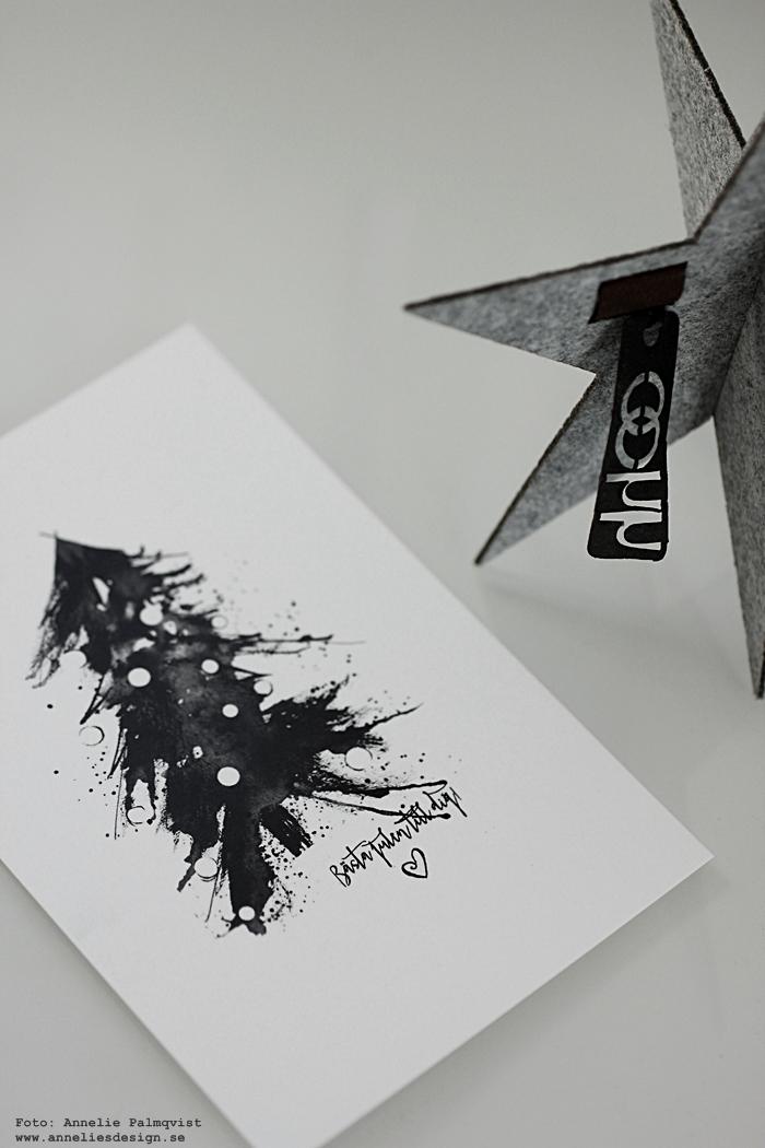 Oohh stjärna, stjärnor, julkort, jul, julen 2016, gran, handmålat, handmålade, granar, svartvitt, svart och vitt, svartvit, svartvita, poster, konsttryck, vykort, annelies design, webbutik, webshop, inredning, nätbutik, nätbutiker,