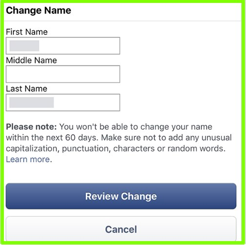 how do i change my name on facebook app