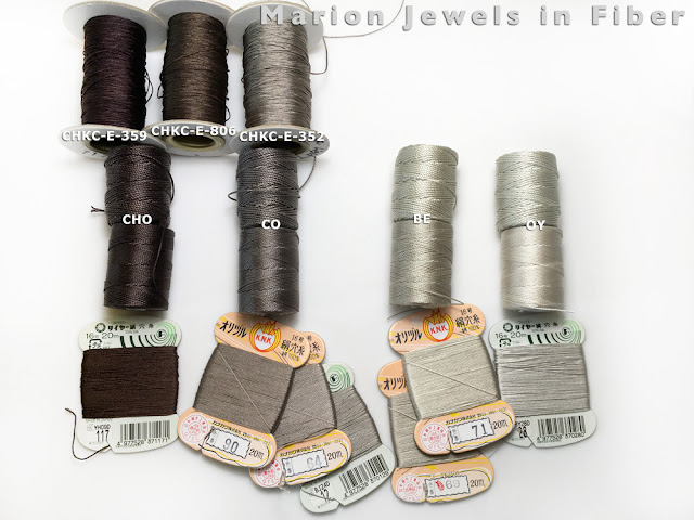 Compare C-Lon Bead Cord Colors with Silks and Chinese Knotting Cord