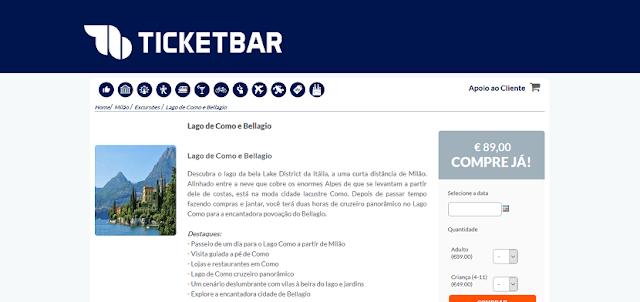 Ticketbar para ingressos para a visita ao Lago de Como e Bellagio em Milão