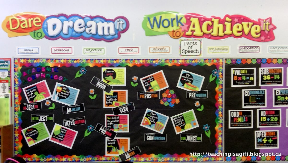 Picture of Academic Morphology Bulletin Board from Teachingisagift.blogspot.ca