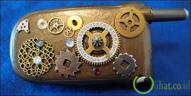 Steampunk flip cell phone