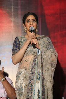 Sri Devi in designer saree stunning beauty at the launch of MOM movie Trailer 23rd June 2017