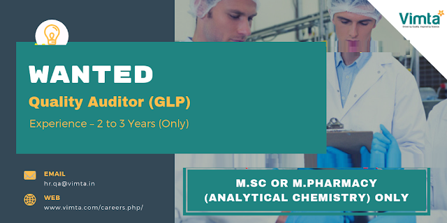 Vimta Labs Wanted M.Sc / M.Pharmacy Candidates - Quality Auditor (GLP)