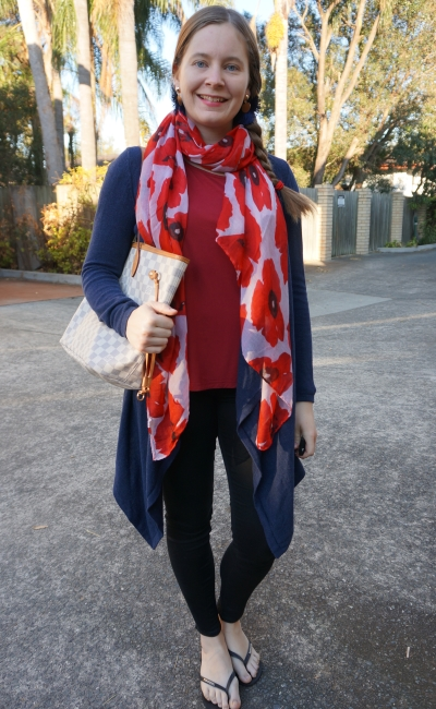 layered shopping skinny jeans red tee outfit poppy scarf navy cardigan LV neverfull | away from the blue
