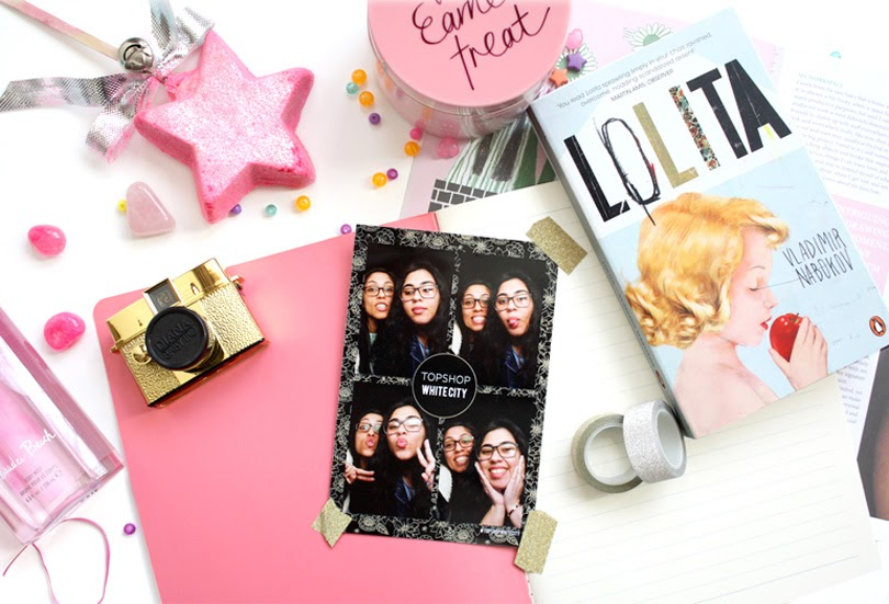 beauty book journal lifestyle flatlay