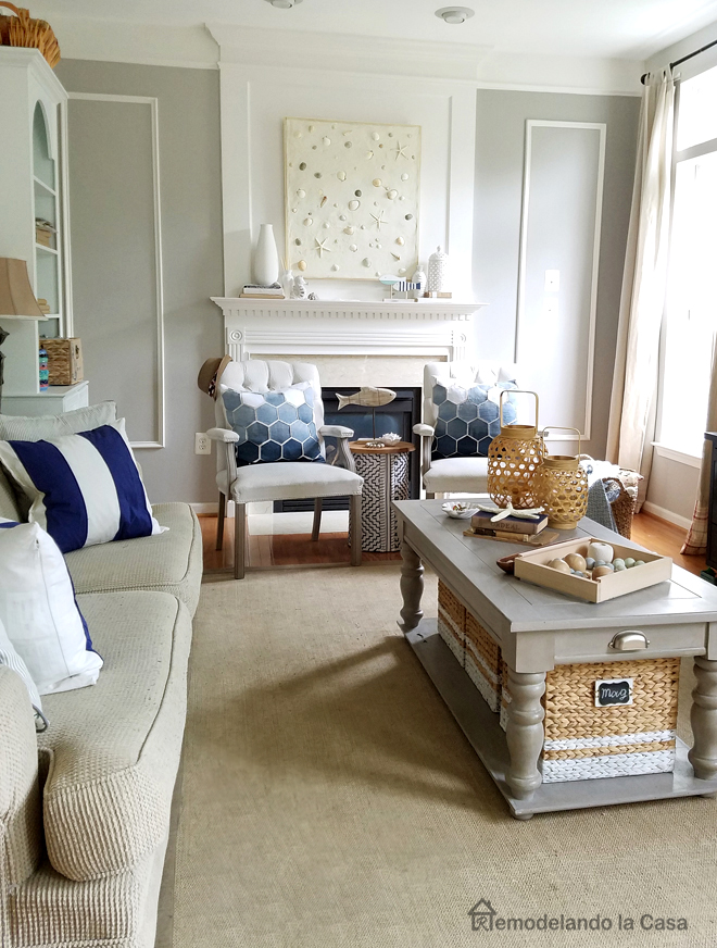 family room decorated for Summer - grey and white