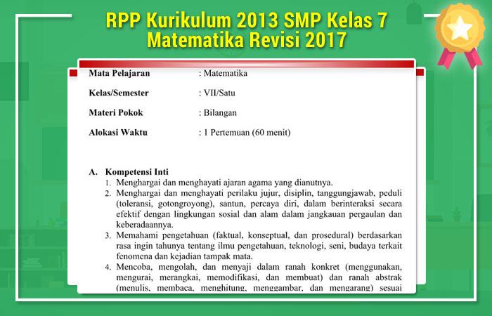 Rpp Kurikulum 2013 Smp Kelas 7 Matematika Revisi 2017 Operator Sekolah