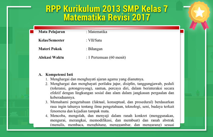 Rpp Kurikulum 2013 Smp Kelas 7 Matematika Revisi 2017
