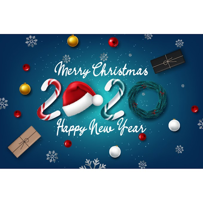 christmas party poster 2020 Christmas background free vector